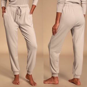 Lulus Dressed to Chill Ribbed Joggers in Taupe